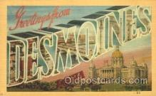 LLT100102 - Desmoines, Iowa, USA Large Letter Town, Towns, Postcard Postcards