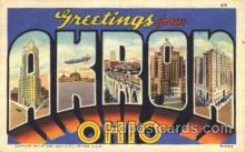 LLT100122 - Akron, Ohio, USA Large Letter Town, Towns, Postcard Postcards
