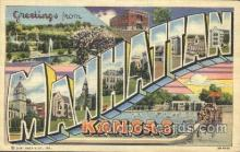 LLT100140 - Manhattan, Kansas, Usa Large Letter Town, Towns, Postcard Postcards
