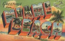 LLT100195 - Miami Beach, Florida, Usa Large Letter Town, Towns, Postcard Postcards