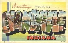 LLT100216 - Evansville, Indiana, USA Large Letter Town, Towns, Postcard Postcards