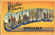LLT100219 - Columbus, Indiana, Usa Large Letter Town, Towns, Postcard Postcards
