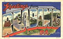LLT100221 - Reading, Pa, Usa Large Letter Town, Towns, Postcard Postcards