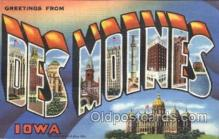 LLT100232 - Des Moines, Iowa, Usa Large Letter Town, Towns, Postcard Postcards