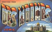 LLT100234 - Des Moines, Iowa, Usa Large Letter Town, Towns, Postcard Postcards