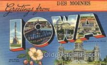 LLT100235 - Des Moines, Iowa, Usa Large Letter Town, Towns, Postcard Postcards