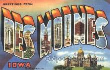 LLT100236 - Des Moines, Iowa, Usa Large Letter Town, Towns, Postcard Postcards