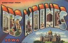 LLT100239 - Des Moines, Iowa, Usa Large Letter Town, Towns, Postcard Postcards