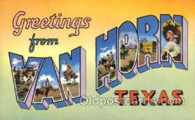 LLT100253 - Van Horn, Texas, Usa Large Letter Town, Towns, Postcard Postcards