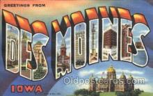 LLT100261 - Des Moines, Iowa, Usa Large Letter Town, Towns, Postcard Postcards