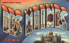 LLT100263 - Des Moines, Iowa, Usa Large Letter Town, Towns, Postcard Postcards