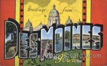 LLT100264 - Des Moines, Iowa, Usa Large Letter Town, Towns, Postcard Postcards
