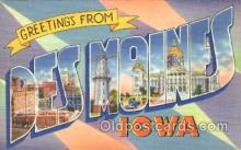 LLT100291 - Des Moines, Iowa, Usa Large Letter Town, Towns, Postcard Postcards