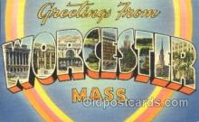 LLT100295 - Worcester, Mass, Usa Large Letter Town, Towns, Postcard Postcards