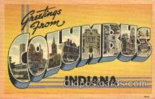 LLT100307 - Columbus, Indiana, Usa Large Letter Town, Towns, Postcard Postcards