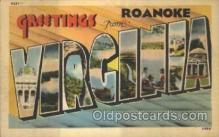 LLT100347 - Roanoke, Virginia, Usa Large Letter Town, Towns, Postcard Postcards