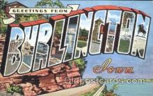 LLT100350 - Burlington, Iowa,Usa Large Letter Town, Towns, Postcard Postcards