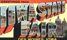 LLT100362 - Iowa State Fair, Des Moines, Iowa, Usa Large Letter Town, Towns, Postcard Postcards