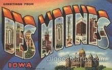 LLT100363 - Des Moines, Iowa, Usa Large Letter Town, Towns, Postcard Postcards