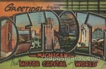 LLT100497 - Detroit, Michigan, USA Large Letter Towns Postcard Postcards