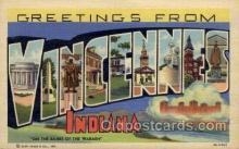 LLT100764 - Vincennes, Indiana Large Letter Town Towns Post Cards Postcards