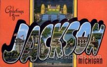LLT100772 - Jackson, Michigan Large Letter Town Towns Post Cards Postcards
