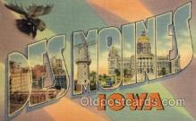 LLT100797 - Des Moines, Iowa Large Letter Town Towns Post Cards Postcards