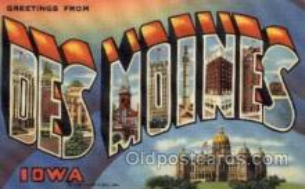 LLT100805 - Des Moines, Iowa Large Letter Town Towns Post Cards Postcards