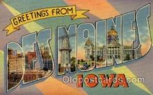 LLT100814 - Des Moines, Iowa Large Letter Town Towns Post Cards Postcards