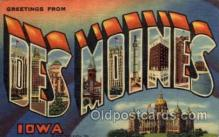 LLT100863 - Des Moines, Iowa Large Letter Town Towns Post Cards Postcards