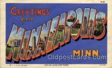 LLT100866 - Minneapolis, Minnesota Large Letter Town Towns Post Cards Postcards