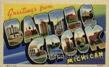 LLT100867 - Battle Creek, Michigan Large Letter Town Towns Post Cards Postcards