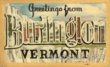 LLT100956 - Burlington, Vermont Large Letter Town Towns Post Cards Postcards