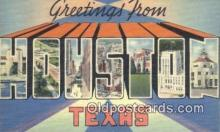 LLT200007 - Houston, Texas, USA Large Letter Town Postcard Post Card Old Vintage Antique