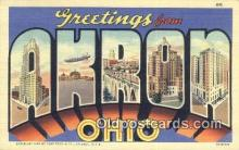 LLT200018 - Akron, Ohio, USA Large Letter Town Postcard Post Card Old Vintage Antique