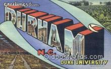 LLT200025 - Durham, NC, USA Large Letter Town Postcard Post Card Old Vintage Antique