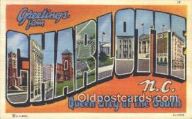LLT200027 - Charlotte, NC, USA Large Letter Town Postcard Post Card Old Vintage Antique