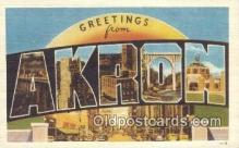 LLT200029 - Akron, Ohio, USA Large Letter Town Postcard Post Card Old Vintage Antique