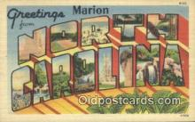 LLT200035 - Marion, North Carolina, USA Large Letter Town Postcard Post Card Old Vintage Antique