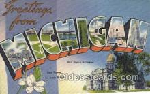 LLT200043 - Lansing, Michigan, USA Large Letter Town Postcard Post Card Old Vintage Antique