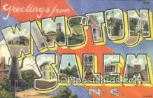 LLT200059 - Winston Salem, NC, USA Large Letter Town Postcard Post Card Old Vintage Antique