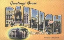 LLT200068 - Raleigh, North Carolina, USA Large Letter Town Postcard Post Card Old Vintage Antique
