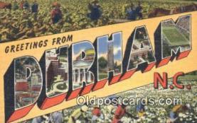 LLT200091 - Durham, NC, USA Large Letter Town Postcard Post Card Old Vintage Antique