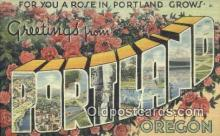 LLT200109 - Portland, Oregon, USA Large Letter Town Postcard Post Card Old Vintage Antique