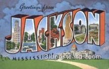 LLT200136 - Jackson, MS, USA Large Letter Town Postcard Post Card Old Vintage Antique