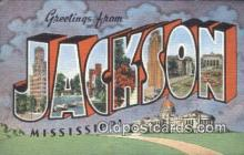 LLT200137 - Jackson, MS, USA Large Letter Town Postcard Post Card Old Vintage Antique