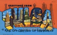 LLT200159 - Tulsa, Oklahoma, USA Large Letter Town Postcard Post Card Old Vintage Antique
