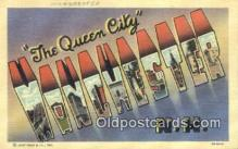 LLT200196 - Manchester, NH, USA Large Letter Town Postcard Post Card Old Vintage Antique