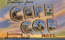 LLT200233 - Cape Cod, MA, USA Large Letter Town Postcard Post Card Old Vintage Antique