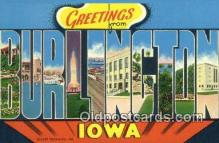 LLT200246 - Burlington, Iowa, USA Large Letter Town Postcard Post Card Old Vintage Antique